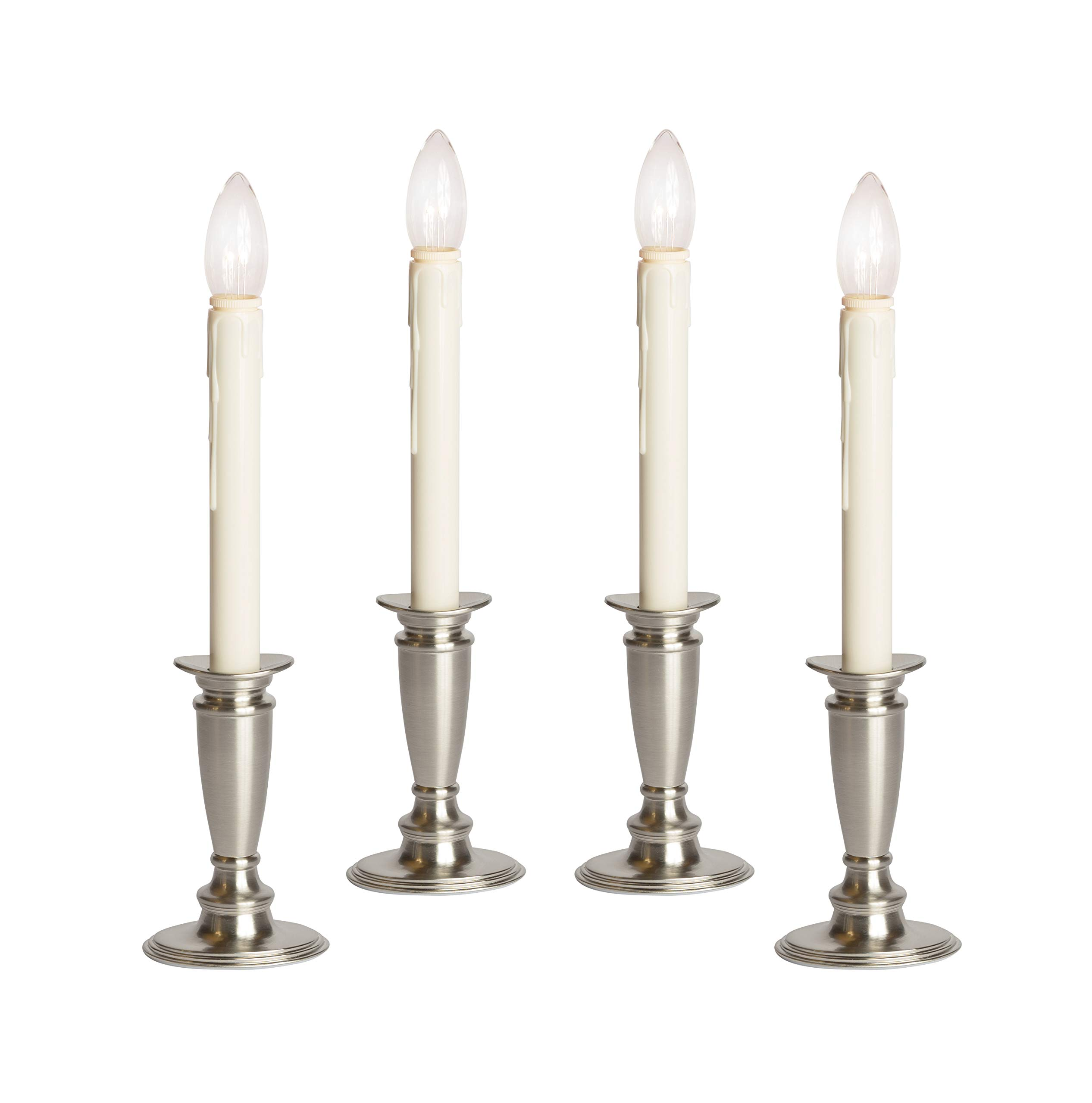 Set of 4 Battery Operated Window Candles (Brushed Silver)