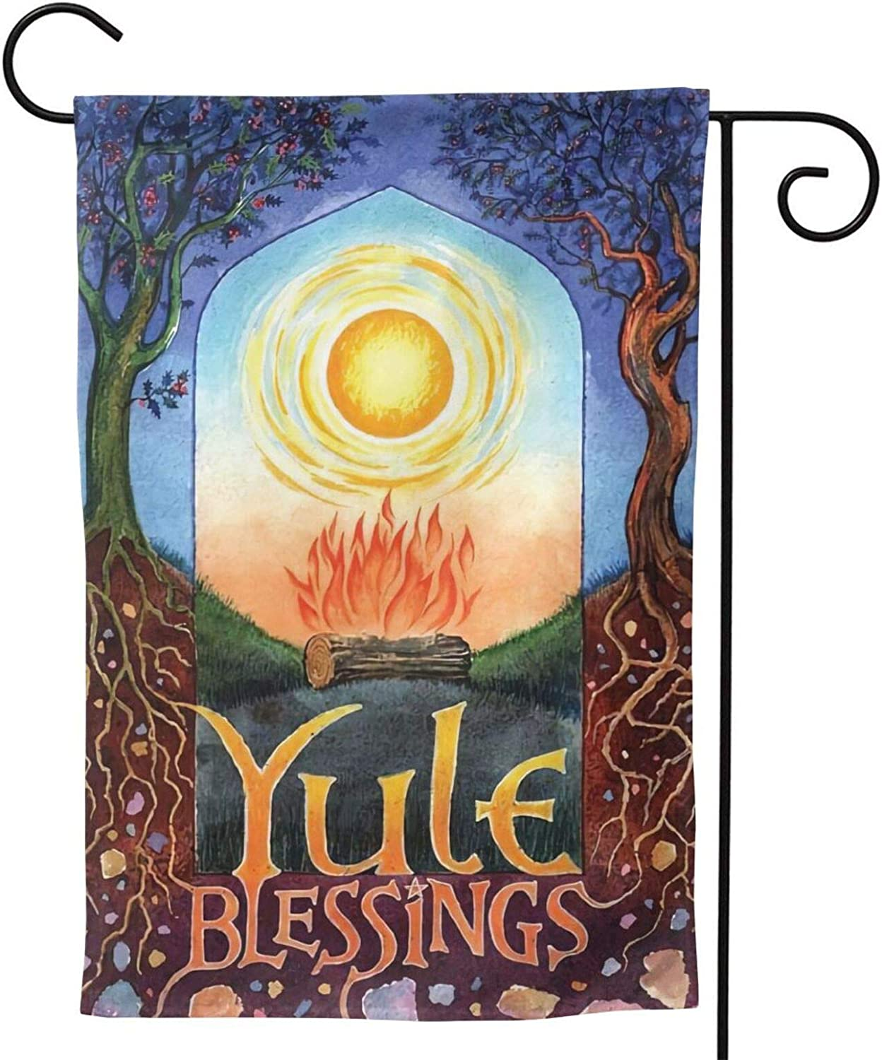MINIOZE Christmas Yule Pagan Wiccan Tree Flame Party Themed Flag Welcome Outdoor Outside Decorations Ornament Picks Garden Yard Decor Double Sided 12.5X 18 Flag