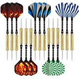 Wolftop 15 Pack Steel Tip Darts 18/20 Grams with Aluminum Shafts and 5 Style Flights + Extra Dart Sharpener