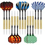 Wolftop 15 Pack Steel Tip Darts 18 Grams, Premium Darts Set with Aluminum Shafts + 5 Style Standard Flights + Rubber O…
