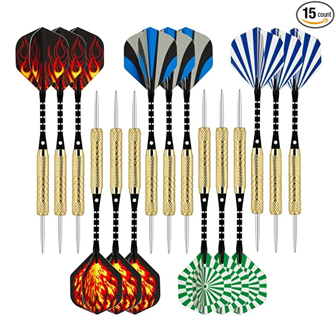Wolftop 15 Pack Steel Tip Darts – Excellent Value For The Price