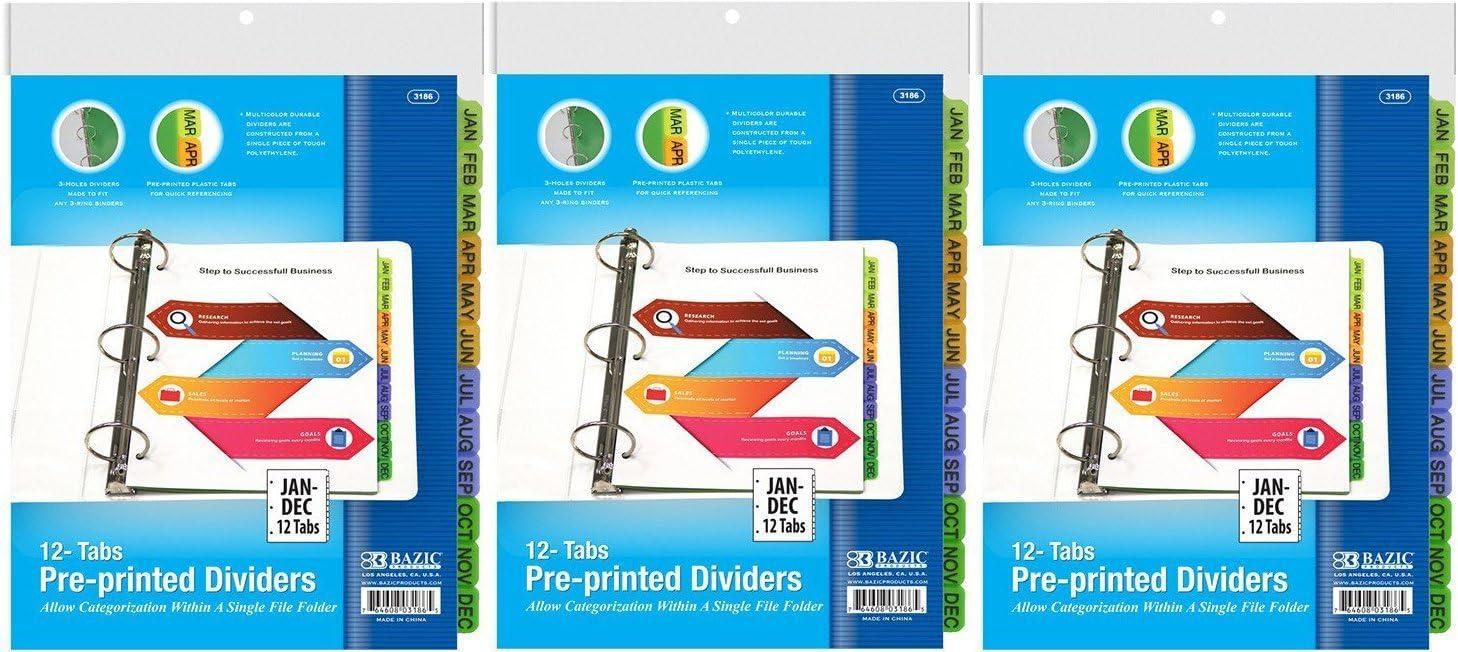 3 Pk BAZIC 3-Ring Binder Dividers W// 12-Preprinted Jan-Dec Tab
