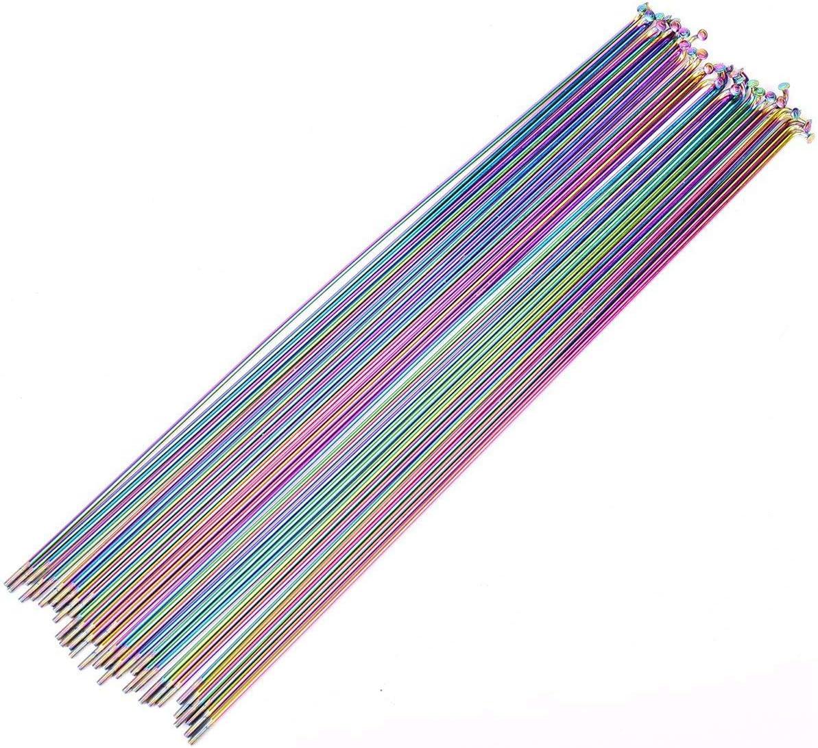 PQZATX 10Pcs Bicycle Spoke Wire Vacuum Plating Rainbow Spokes MTB 261mm