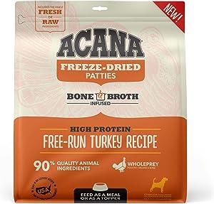 ACANA Grain Free High Protein Fresh & Raw Animal Ingredients Free-Run Turkey Recipe Freeze Dried Patties Dog Food, 14 oz.
