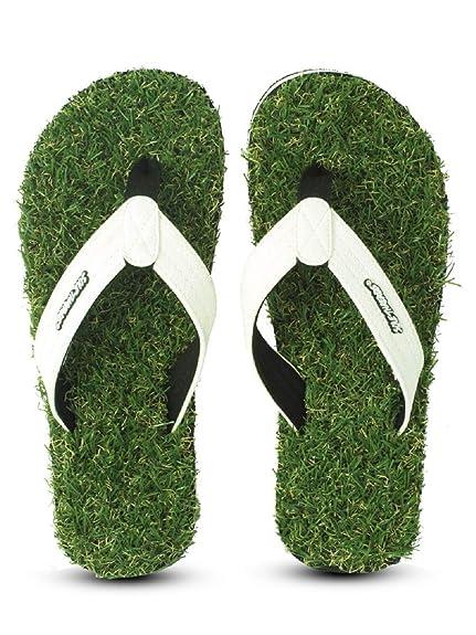 37816e2ef Sole Threads Men s Green EVA and Fabric Grass Fab Flip Flops (7 UK India