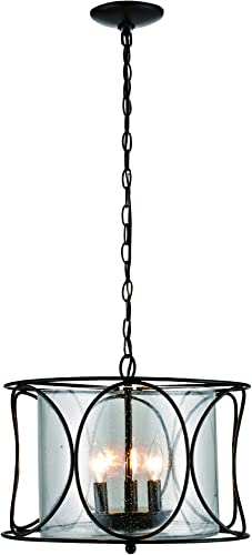 Addington Park 31786 Roatan Collection 3-Light Contemporary Cage Pendant with Seeded Glass Shade, Bronze Finish