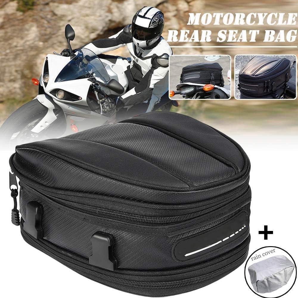 Motorcycle Tail Bag Waterproof Luggage Bag Seat Bag Motorbike Saddle Bags Multifunctional PU Leather Bike Bag Sport Backpack