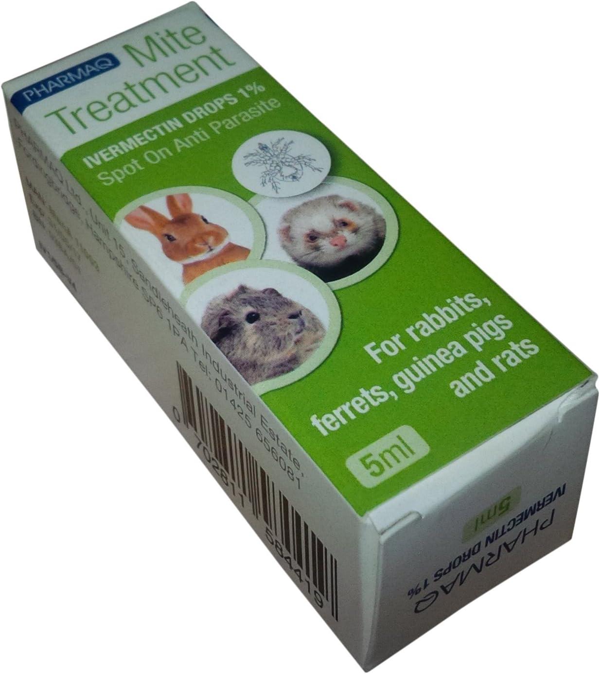 PHARMAQ - Gotas Ivermectina 1% 5ml–Tratamiento de los ácaros para Mascotas peludas pequeñas