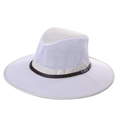 a5777b34ef6 UV Protection Mens Wide Brim Sun Hat Mesh Safari Breezer Hat Chin Cord  Light Packable Fishing