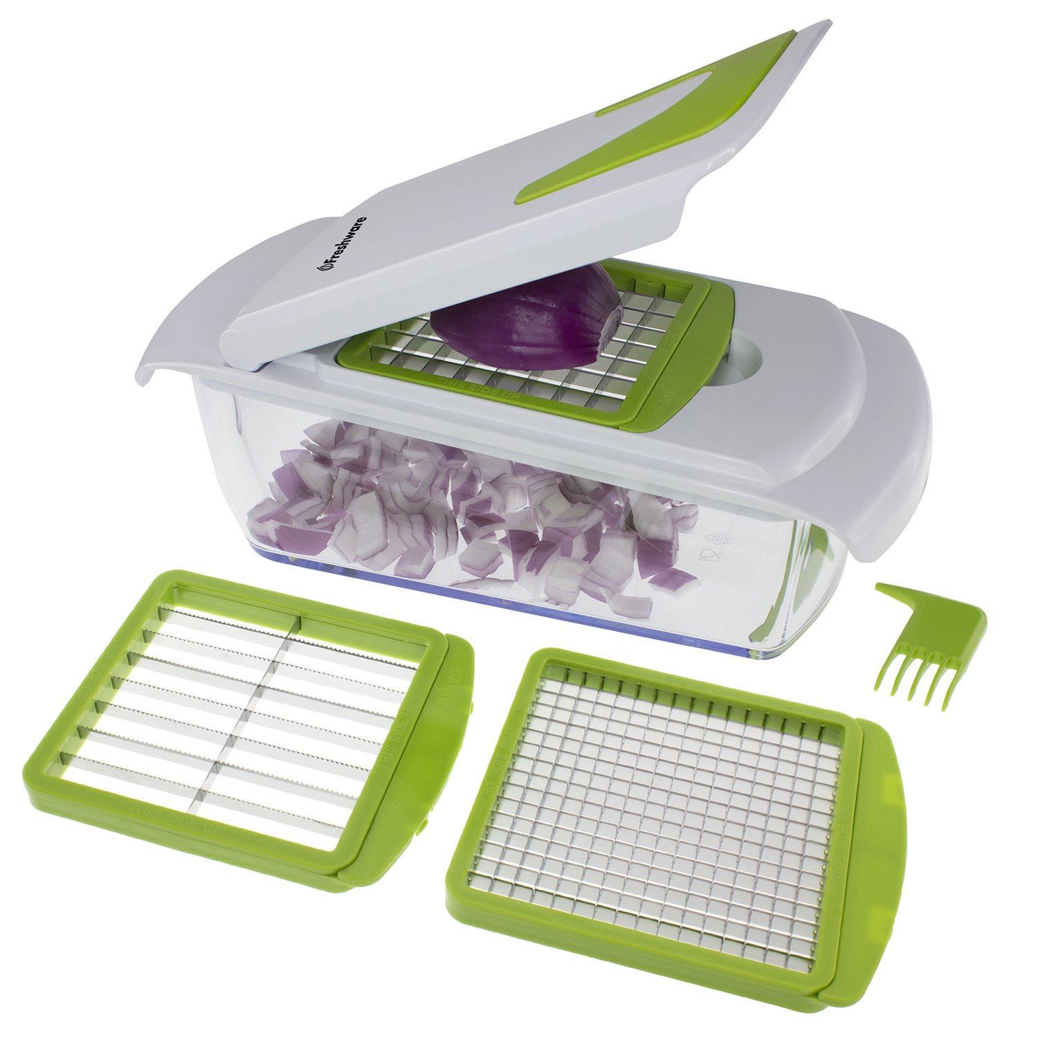 Freshware KT-405 4-in-1 Onion Chopper, Vegetable Slicer, Fruit and Cheese Cutter Container with Storage Lid by Freshware