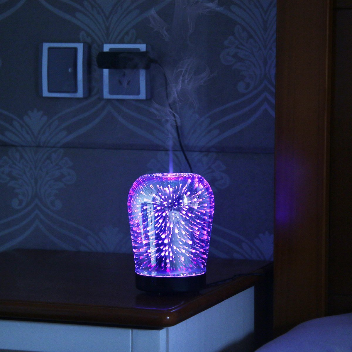 Loskii LH-963 3D LED Lights Oil Diffuser Ultrasonic Cool Mist Aromatherapy Humidifier 16 Color Changing Starburst Light Lamp 100ML Volume Humidifier (Plug EU plug) by LEEPRA (Image #4)