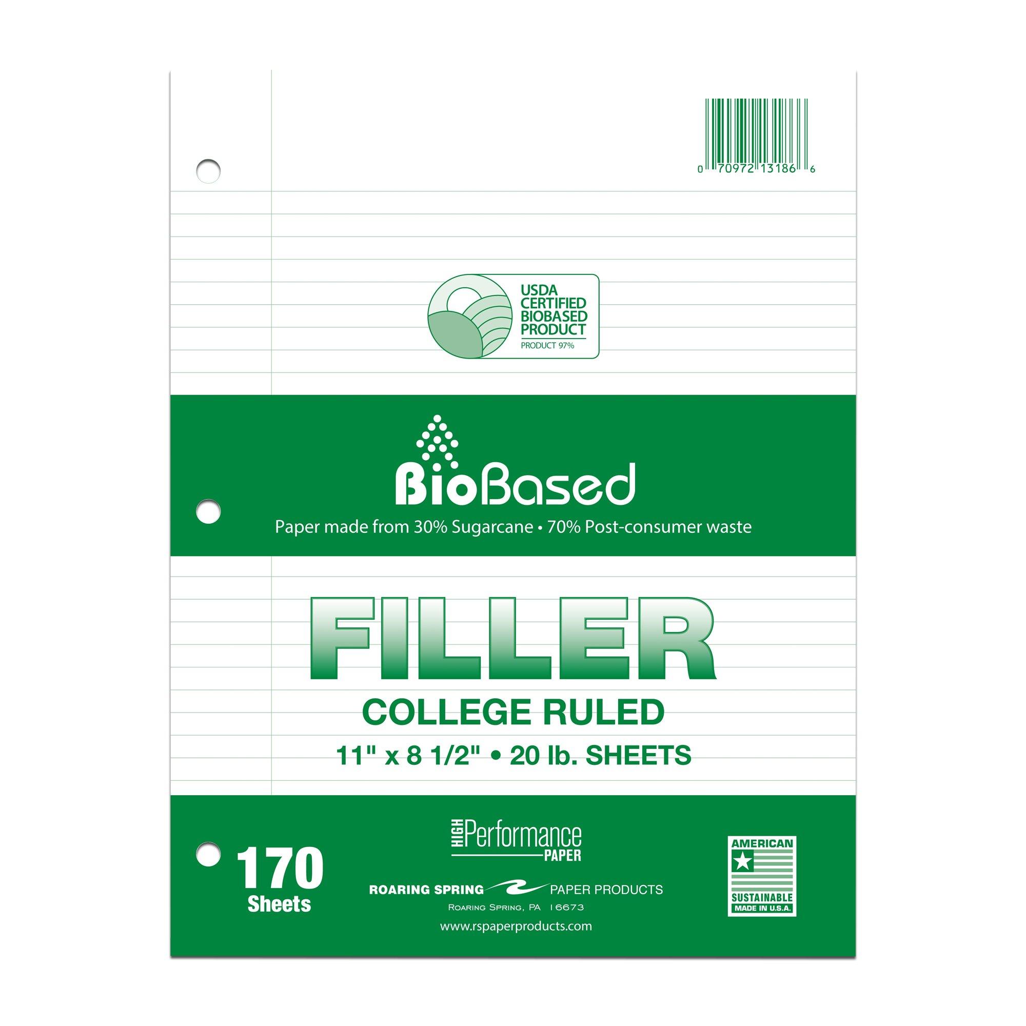 Roaring Spring Filler Paper, College Ruled, 11'' x 8.5'', 20# BioBase Paper