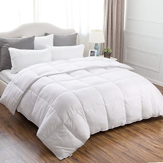 "Twin Comforter Duvet Insert with Corner Ties-Quilted Down Alternative Comforter Box Stitching Design White 68""x88"" by Bedsure"