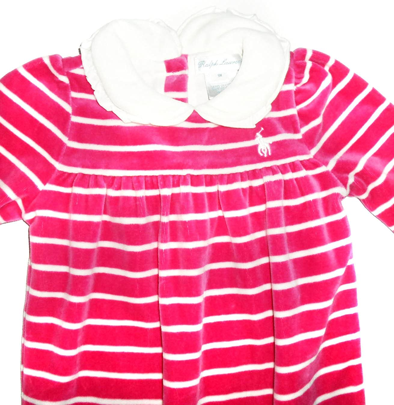 8ed9c72f2 Ralph Lauren New Genuine Baby Girls Pink Velvet Babygrow Playsuit - 70002 (9  Months)  Amazon.co.uk  Clothing
