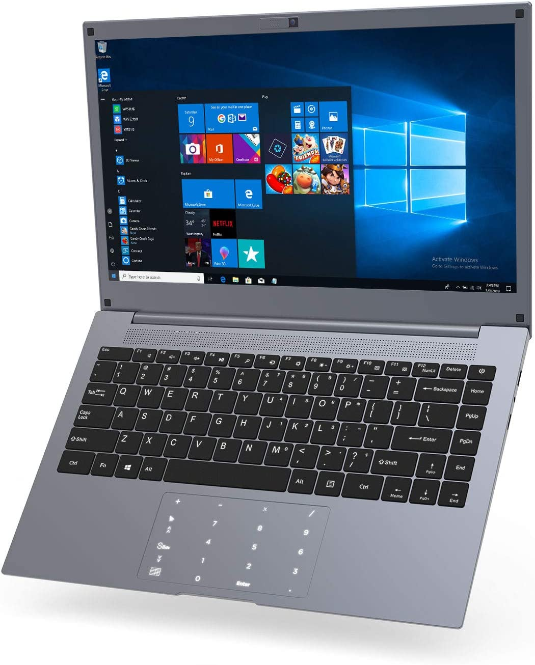 Laptop 14 Inch Windows 10 – Winnovo Computer 6GB RAM 64GB ROM Intel Celeron HD IPS Display SSD Extension Touch Numeric Keypad WiFi HDMI USB3.0 (Space Grey)
