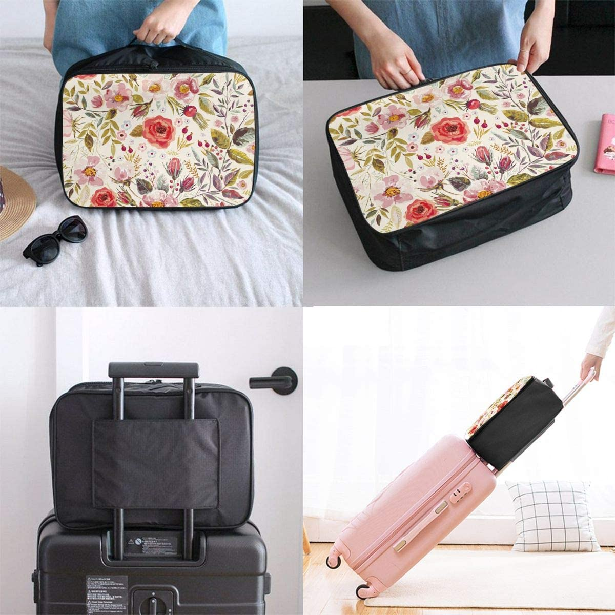 Shabby Chic Flowers Roses Pedals Dots Leaves Buds Spring Season Theme Travel Duffel Bag Waterproof Fashion Lightweight Large Capacity Portable Luggage Bag