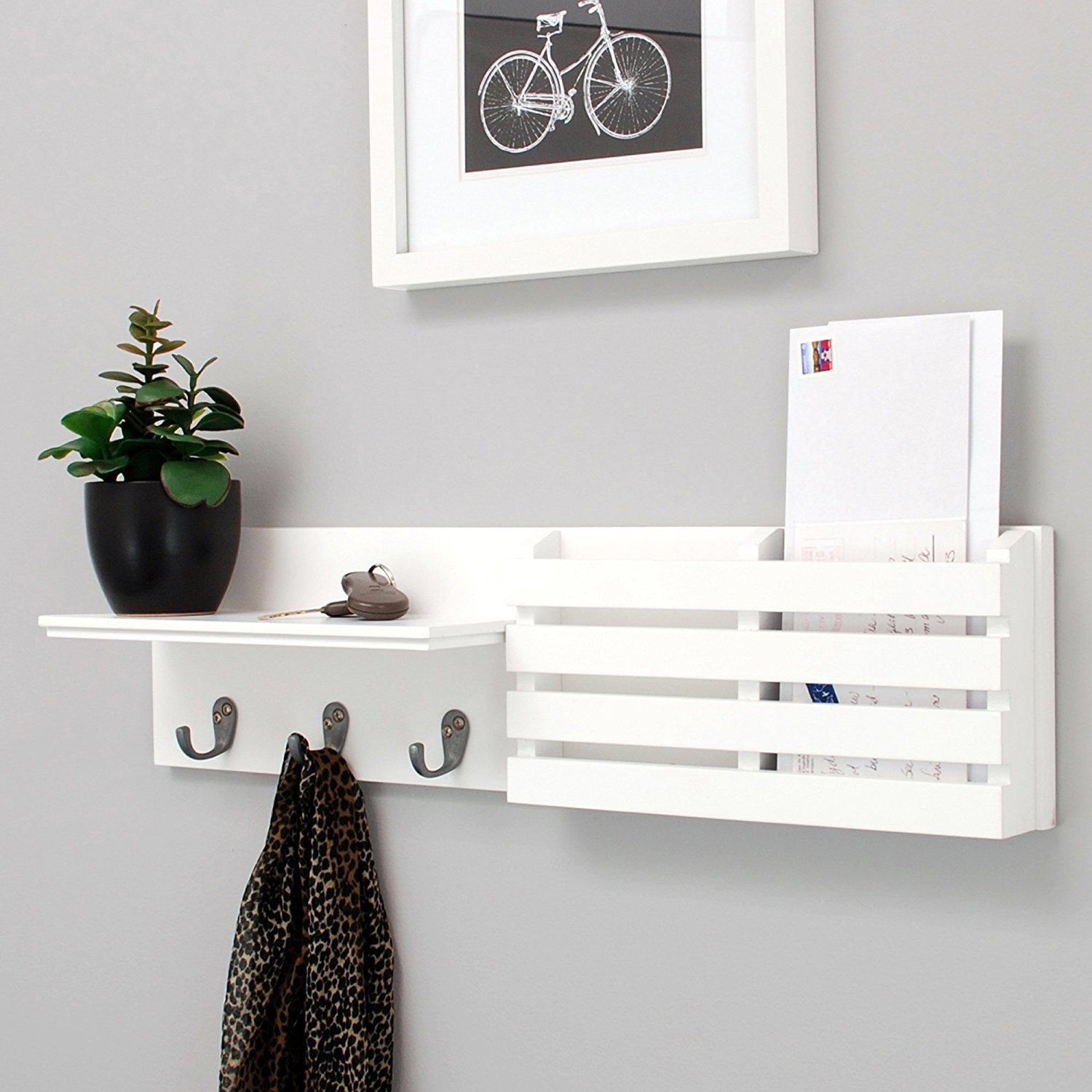 Mail Holder and Book Coat Key Rack Wall Shelf with 3 Hooks, Wall-Mounted Display Storage Ledge, Entry Living Room, 24'' x 6'', White