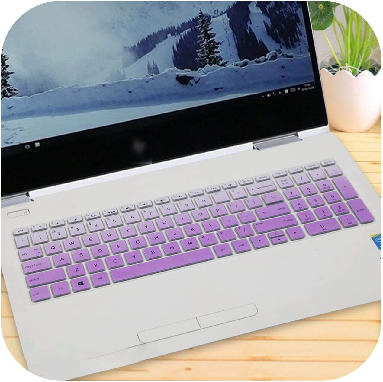 15 15.6 Inch Laptop Keyboard Cover for Hp Envy X360 Bp Bq Ch Cn Cs Series with AMD Ryzen 5 2500U 2700U 15-Bq101Na-Fadepurple-
