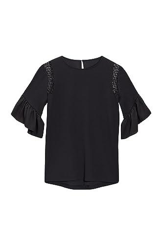 next Mujer Blusa Camiseta Top Cuello Redondo Manga 3/4 Acampanada