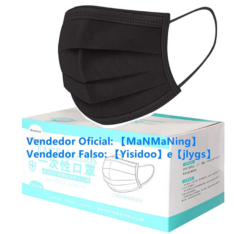 MaNMaNing Protección 3 Capas Transpirables con Elástico para Los Oídos Pack 50 unidades 20200723-MANING-NM50 (50, Negro, Adulto)