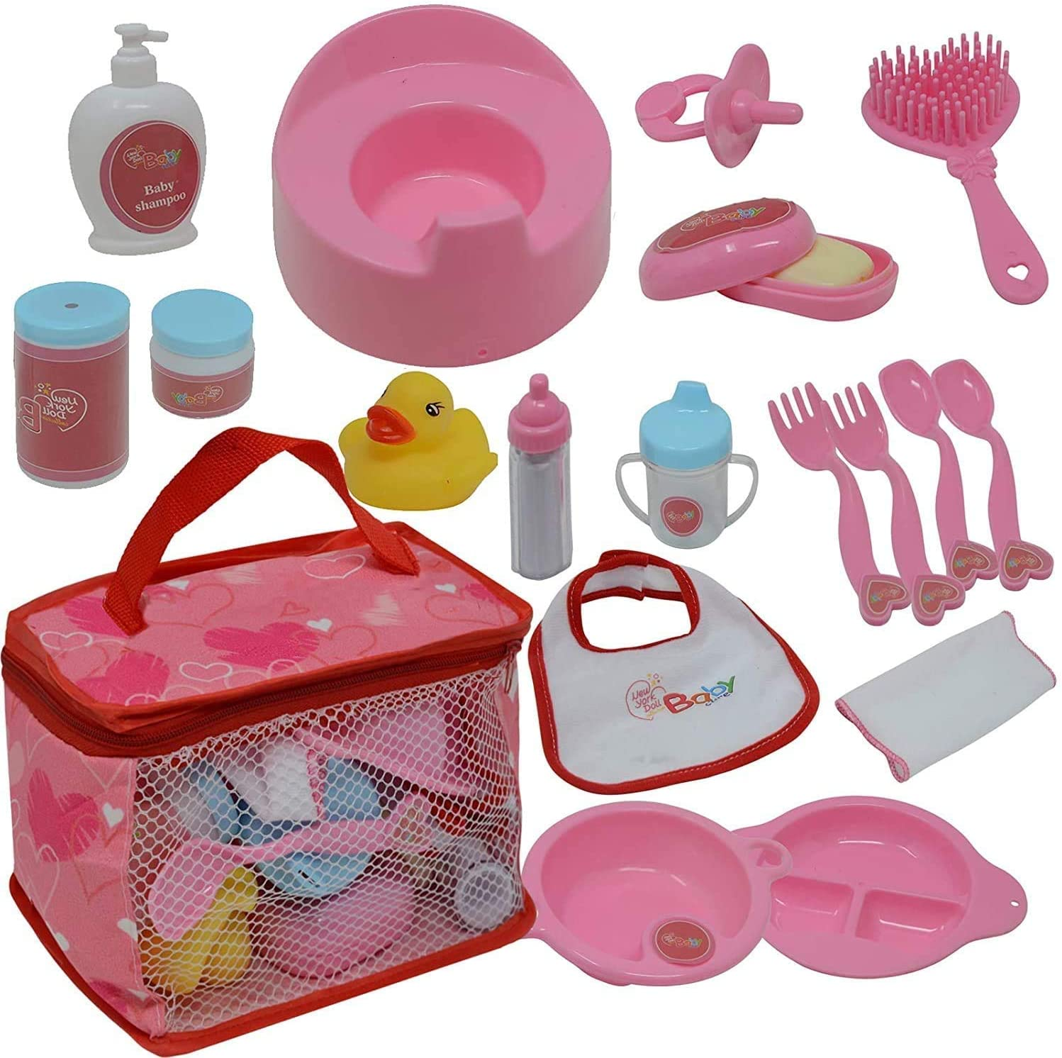 The New York Doll Collection Baby Doll Feeding & Caring Accessory Set in Zippered Carrying Case - 20 pc Accessories for Dolls