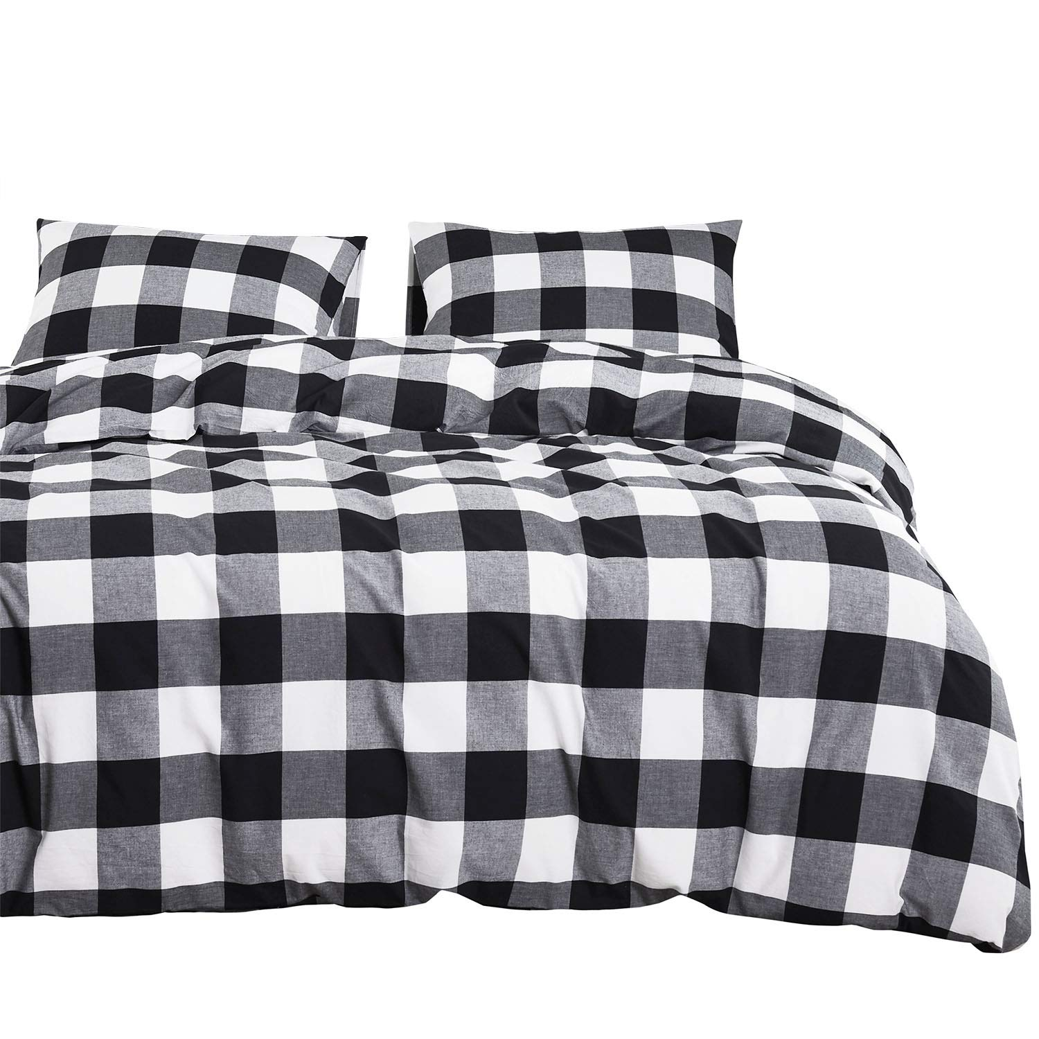 Wake In Cloud - Washed Cotton Duvet Cover Set, Buffalo Check Gingham Plaid Geometric Checker Printed in White Black and Gray, 100% Cotton Bedding, with Zipper Closure (3pcs, Twin Size)