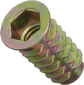 """E-Z Lok Threaded Insert, Zinc, Hex-Flanged, 3/8""""-16 Internal Threads, 25mm Length (Pack of 25)"""
