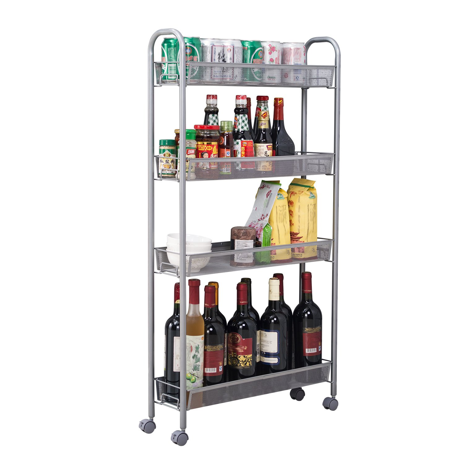 HOMFA 4-Tier Gap Kitchen Slim Slide Out Storage Tower Rack with Wheels, Cupboard with Casters - Silver by Homfa