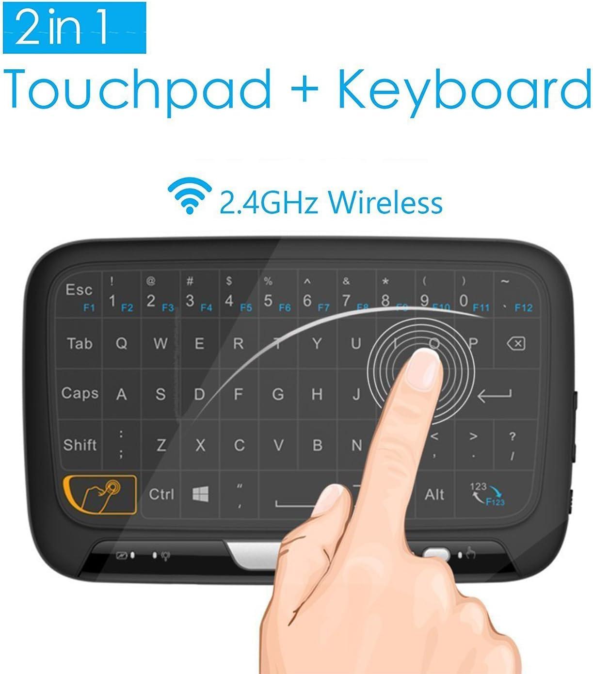 Mini Teclado Inalámbrico portátil ergonómico con touchpad (RF 2.4 GHz, USB), Compatible con SmartTV, Mini PC, TV inteligente, Android TV BOX, PC, Caja de juegos, Notebook: Amazon.es: Electrónica