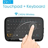 2.4GHz Mini Wireless Mouse Keyboard with Whole Panel Touchpad, Portable Handheld Rechargeable Keyboard for Android / Google / Smart TV, Linux, Mac, Windows PC, HTPC, IPTV, Raspberry Pi, XBOX 360, PS3