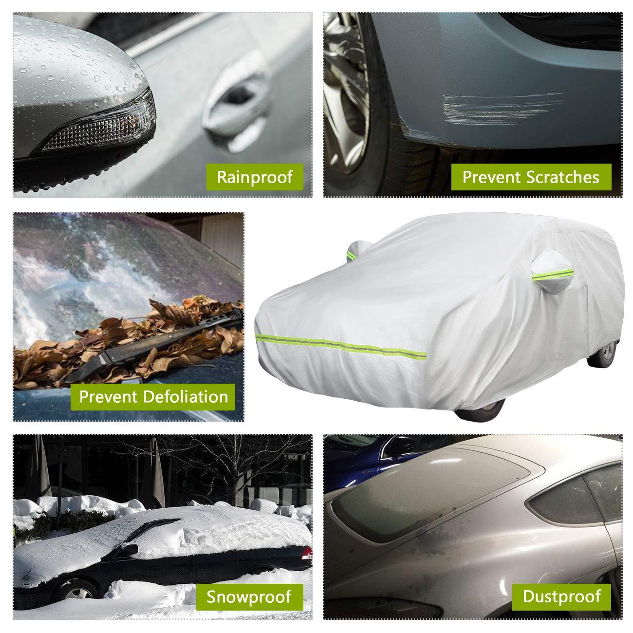 Favoto Cubierta de Coche Impermeable Funda de Coche Exterior Oxford+Algod/ón con Cremallera para Hatchback Anti-UV Transpirable Resistente al Polvo Lluvia Rasgu/ño Nieve al Aire Libre 435x150x130cm