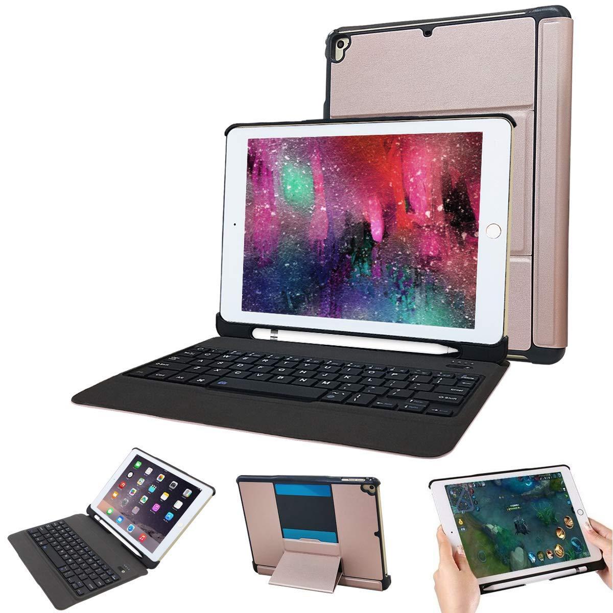 iPad 9.7 ワイヤレスキーボード ケース付き 分離式 耐衝撃 超薄型 タッチペン収納可能 取り外す可能 スタンド機能 ipad 第6世代 9.7 キーボード 2018 ケース カバー ケース付きiPad Air,iPad Air 2,iPad Pro 9.7,2017/2018 New iPad 9.7に対応 【日本語説明書付き】 (シャンペン)