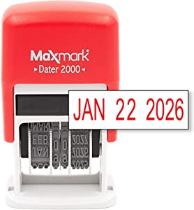 MaxMark Dater 2000, Self Inking Small Date Stamp with Red Ink