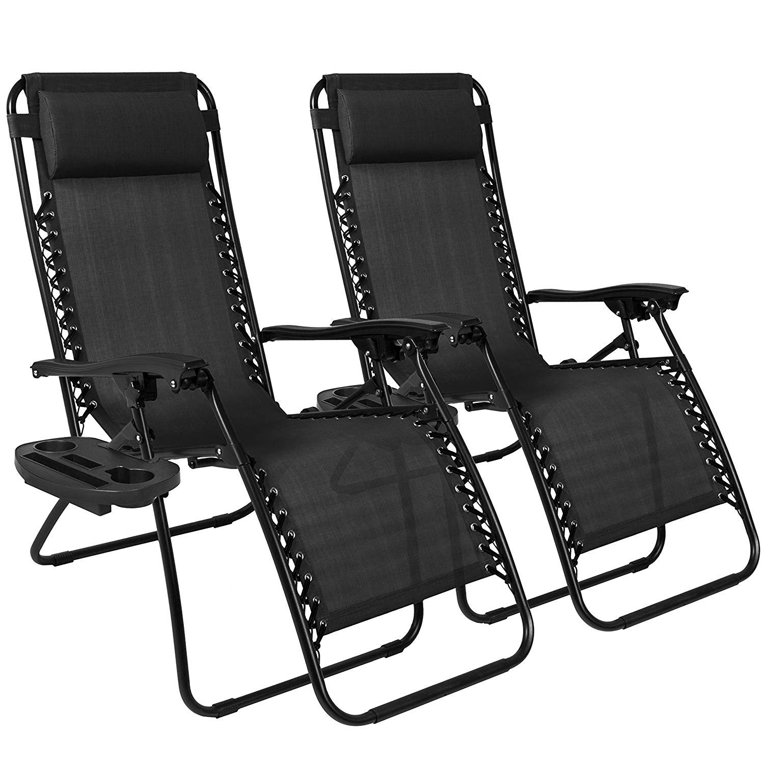 Pleasant Chillax New Set Of 2 Adjustable Zero Gravity Lounge Chair Recliners For Patio Pool With Cup Holders Black Gmtry Best Dining Table And Chair Ideas Images Gmtryco