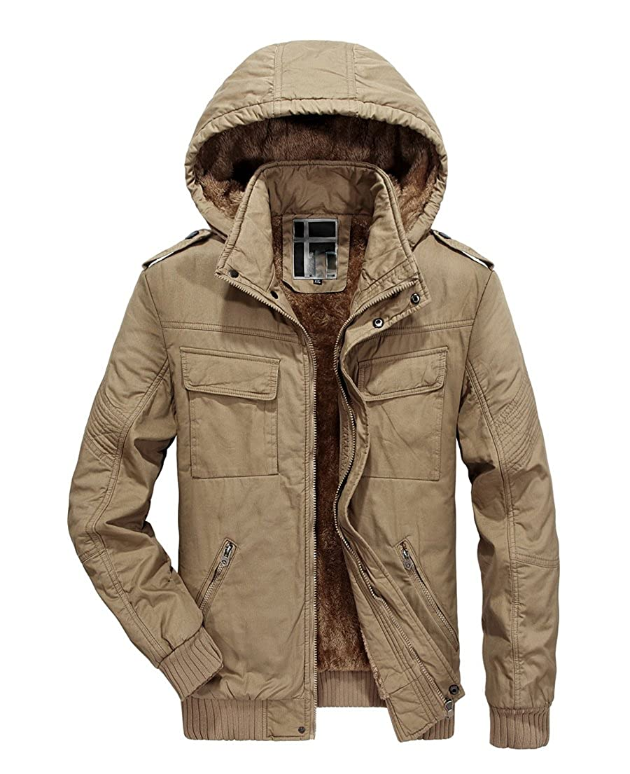 RongYue Men's Winter Thicken Coat Fleece Parka Jacket with Removable Hood
