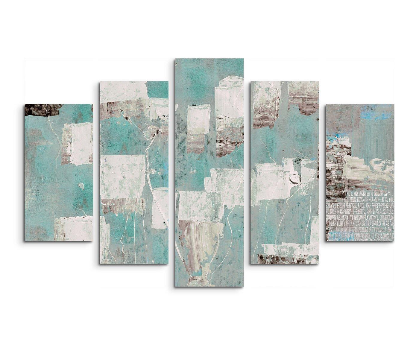 5 teiliges Wandbild auf Leinwand (Gesamt  H  100cm B  160cm) Keilrahmenbild Canvas Fotodruck Leinwandbild Leinwanddruck Kunstdruck Wandbild türkis blau beige grau