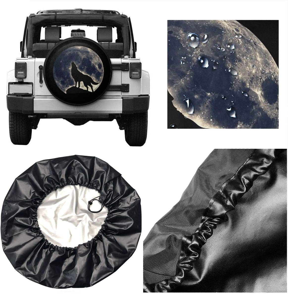 XOMAO Various Kinds of Horses Spare Tire Cover Polyester Universal Dust-Proof Waterproof Wheel Covers for Trailer RV SUV Truck and Many Vehicles 14 15 16 17