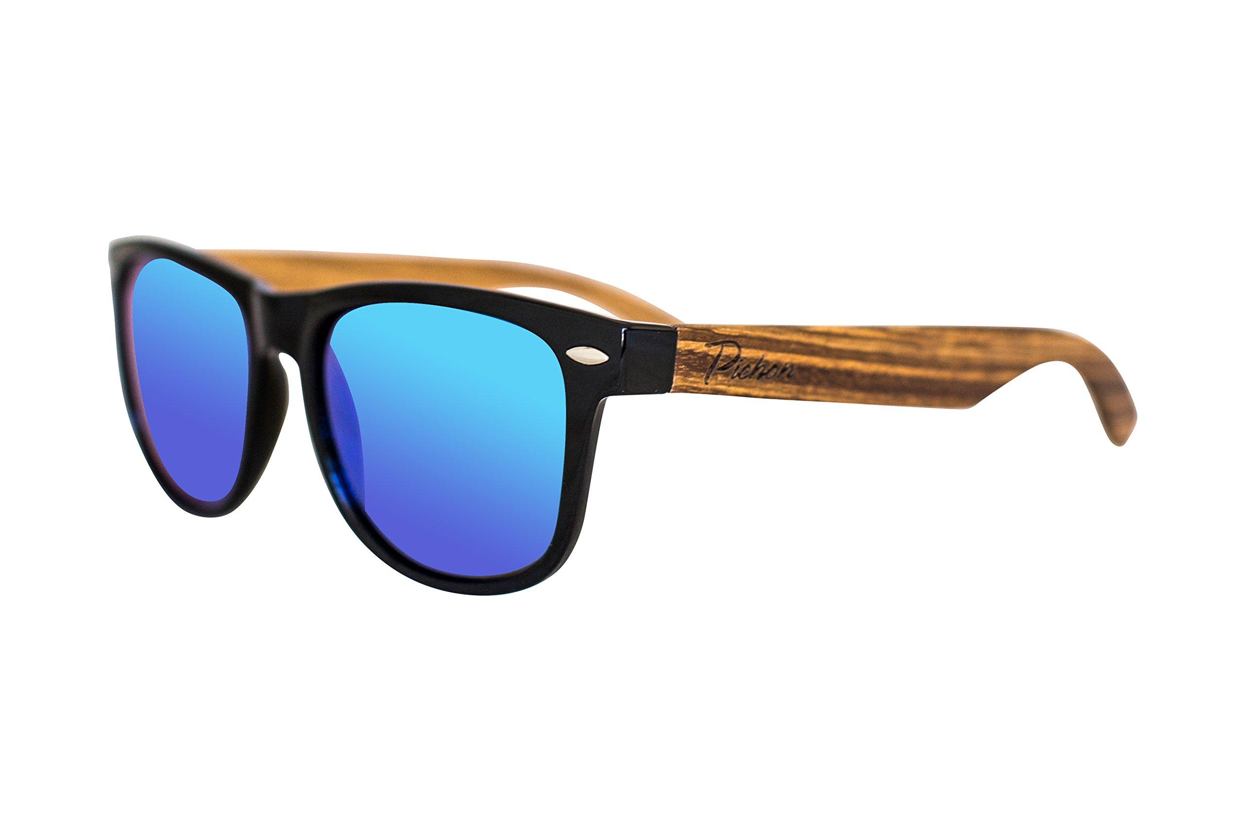 100% Bamboo Wood Wayfarer Sunglasses| Light, Strong & Eco-friendly| Green Mirrored POLARIZED Unisex