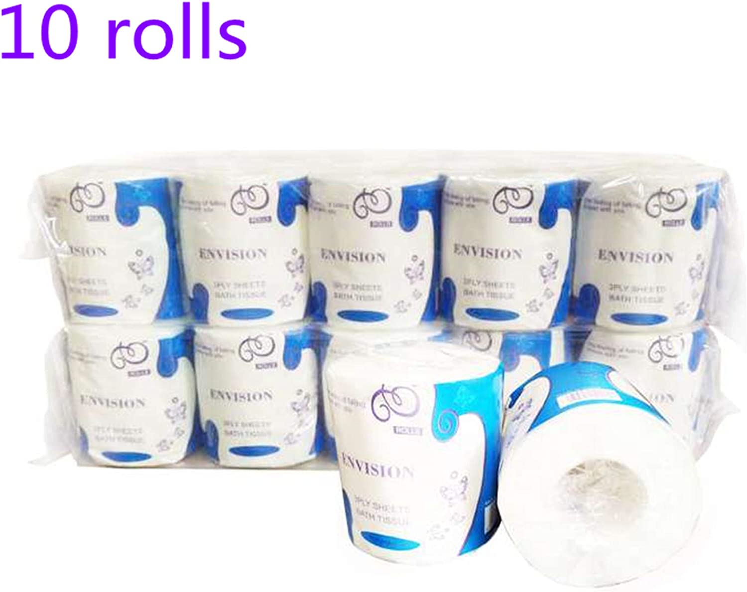 Kitchen Paper,Ultra Soft 3-Ply Skin-Friendly No Fragrance Household Paper Towels Roll Paper Absorbent Paper Towels Paper for Commercial Household Daily Use 3 Rolls