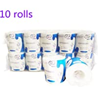 PTG 10 Rolls Toilet Paper, 3-Ply Standard Rolls Toilet Paper Towel Soft Skin-Friendly No Fragrance Bath Tissue Paper for Commercial Household Towel Tissue (3-PLY 10 Rolls)