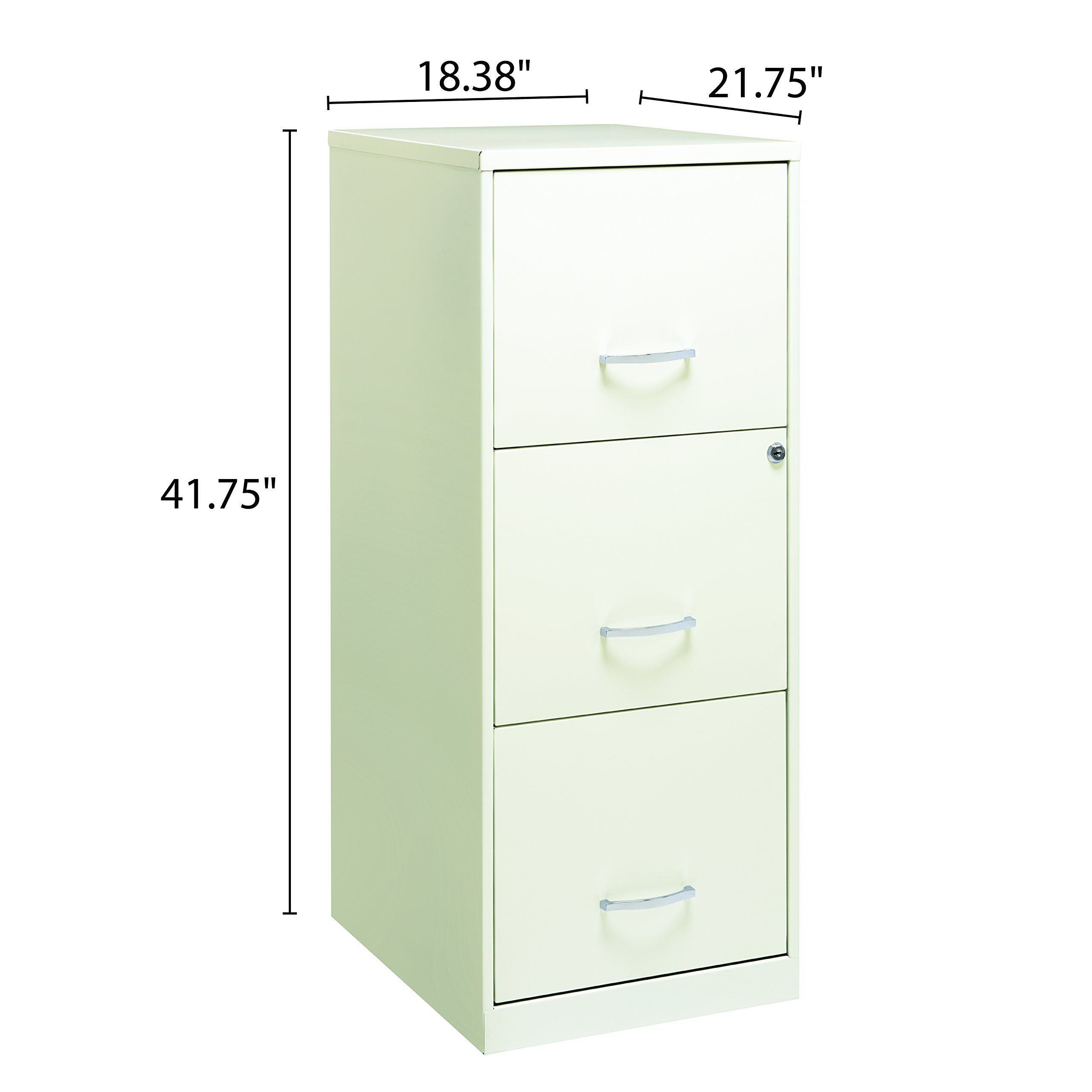Office Dimensions 18'' Deep 3 Drawer Vertical File Cabinet with Lock for Office Storage, Letter-Sized, Pearl White by Space Solutions (Image #4)