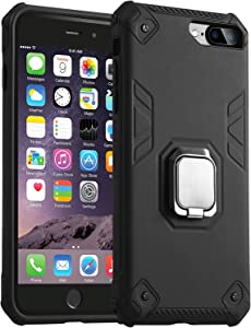 DICHEER iPhone 7 Plus Case,iPhone 8 Plus Case,Cute for Women Girls Slim Fit Thin Clear Bumper Glossy TPU Soft Rubber Silicon Cover Protective Phone Case (Black with Kickstand)