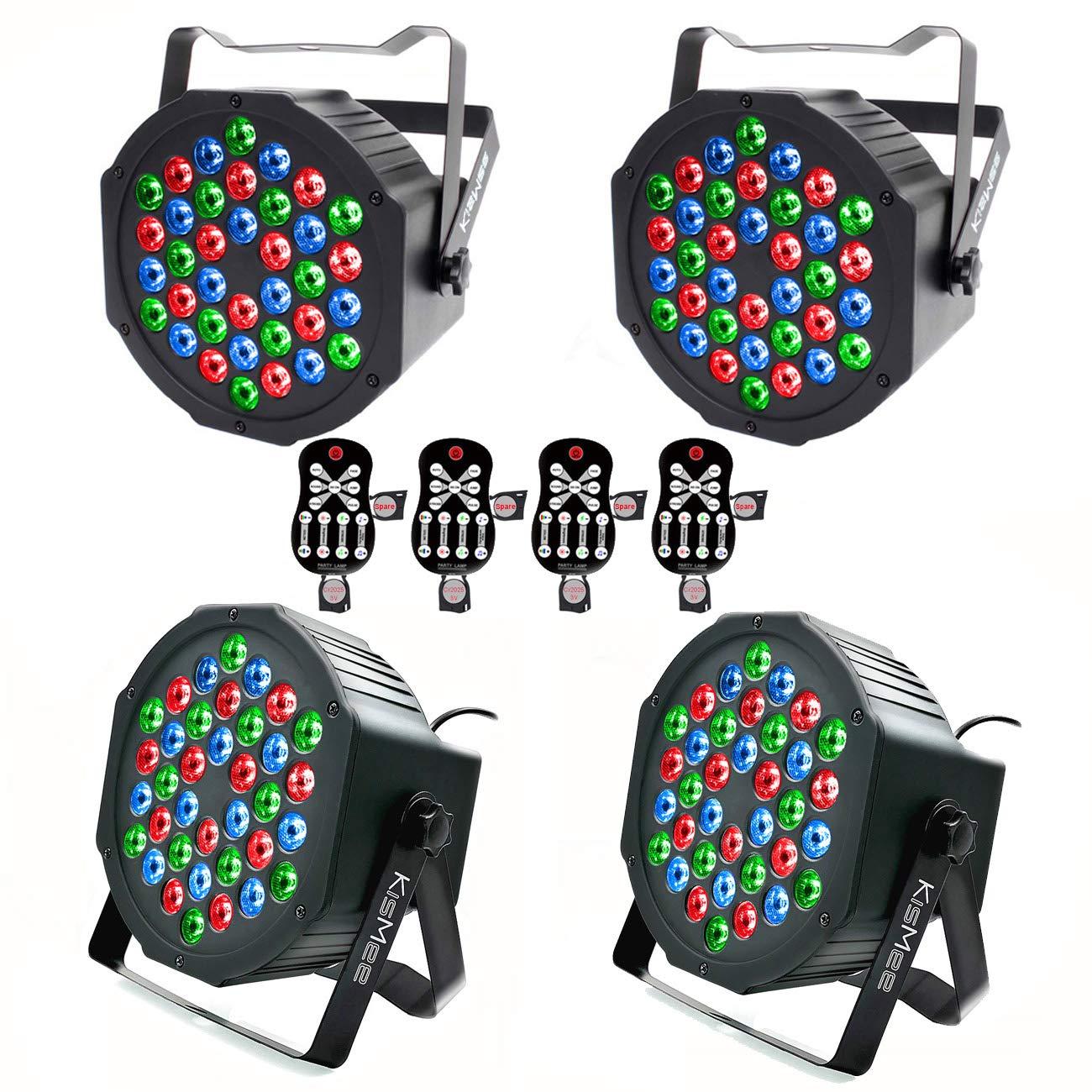 Stage Lights KisMee 36 LEDs RGB Sound Activated DJ Par Lights with Remote Control Compatible with DMX, Various Modes LED Up Lights for Wedding Event Party Festival (36LEDs Par Lights 4 Sets) by KisMee
