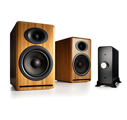 Audioengine P4 Passive Bookshelf Speakers And N22 Audio Amplifier Desktop Speaker System Bamboo
