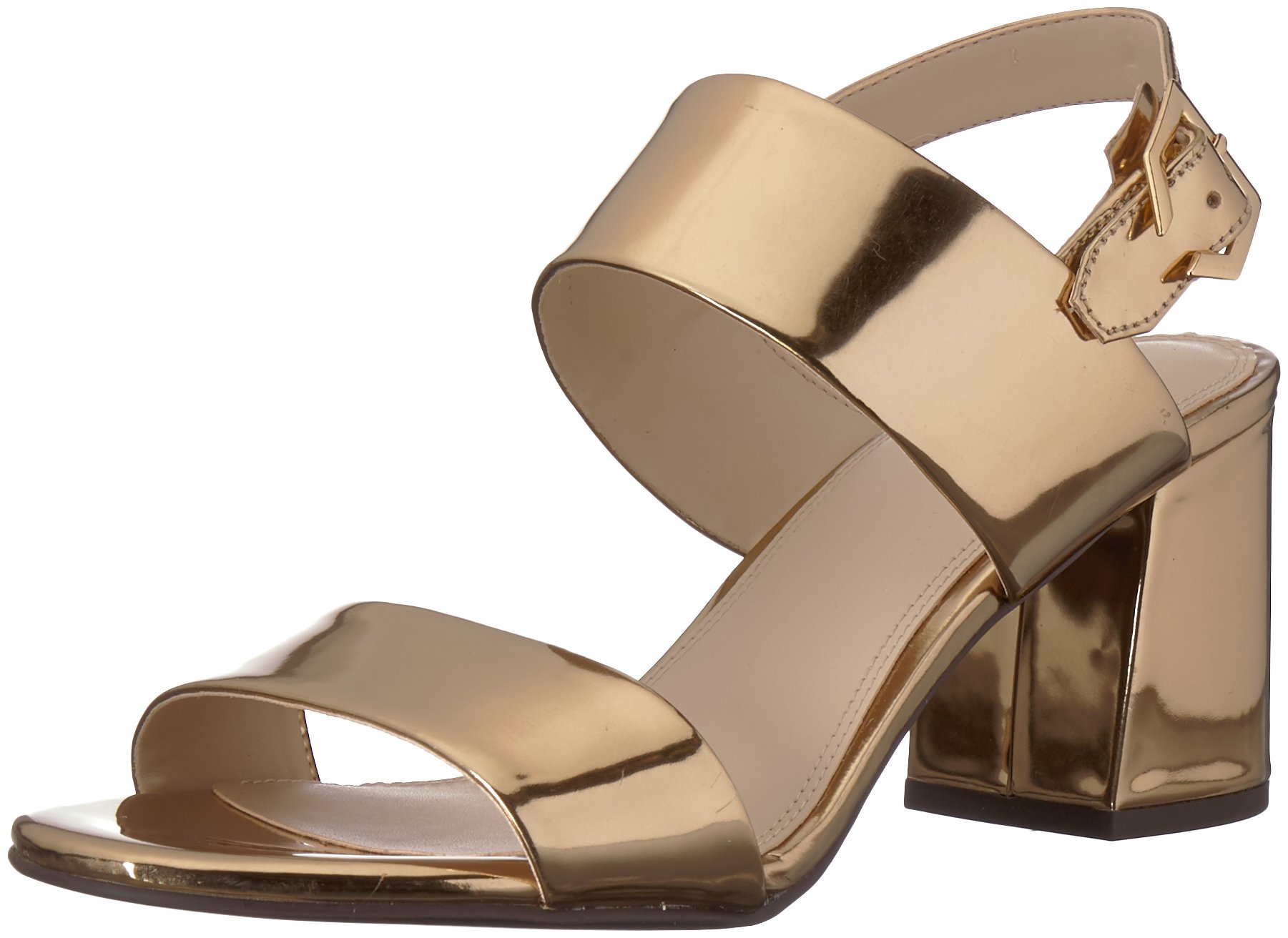 Cole Haan Women's Blakely Mid Heeled Sandal, Gold Specchio, 8.5 B US