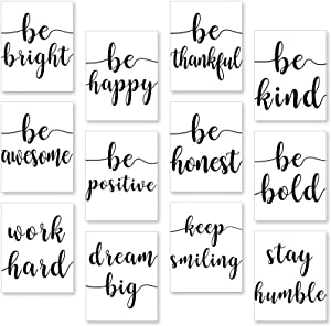 12 Pieces Inspirational Wall Art Decor Poster Motivational Quote Canvas Wall Art Painting Motivational Phrases Wall Art Prints for Office Living Room Home Decor (8 x 10 Inch, Unframed)