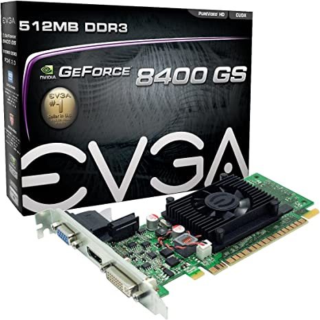 EVGA 512-P3-1300-LR GeForce 8400 GS 512 MB DDR3 PCI Express 2.0 DVI/HDMI/VGA Graphics Card