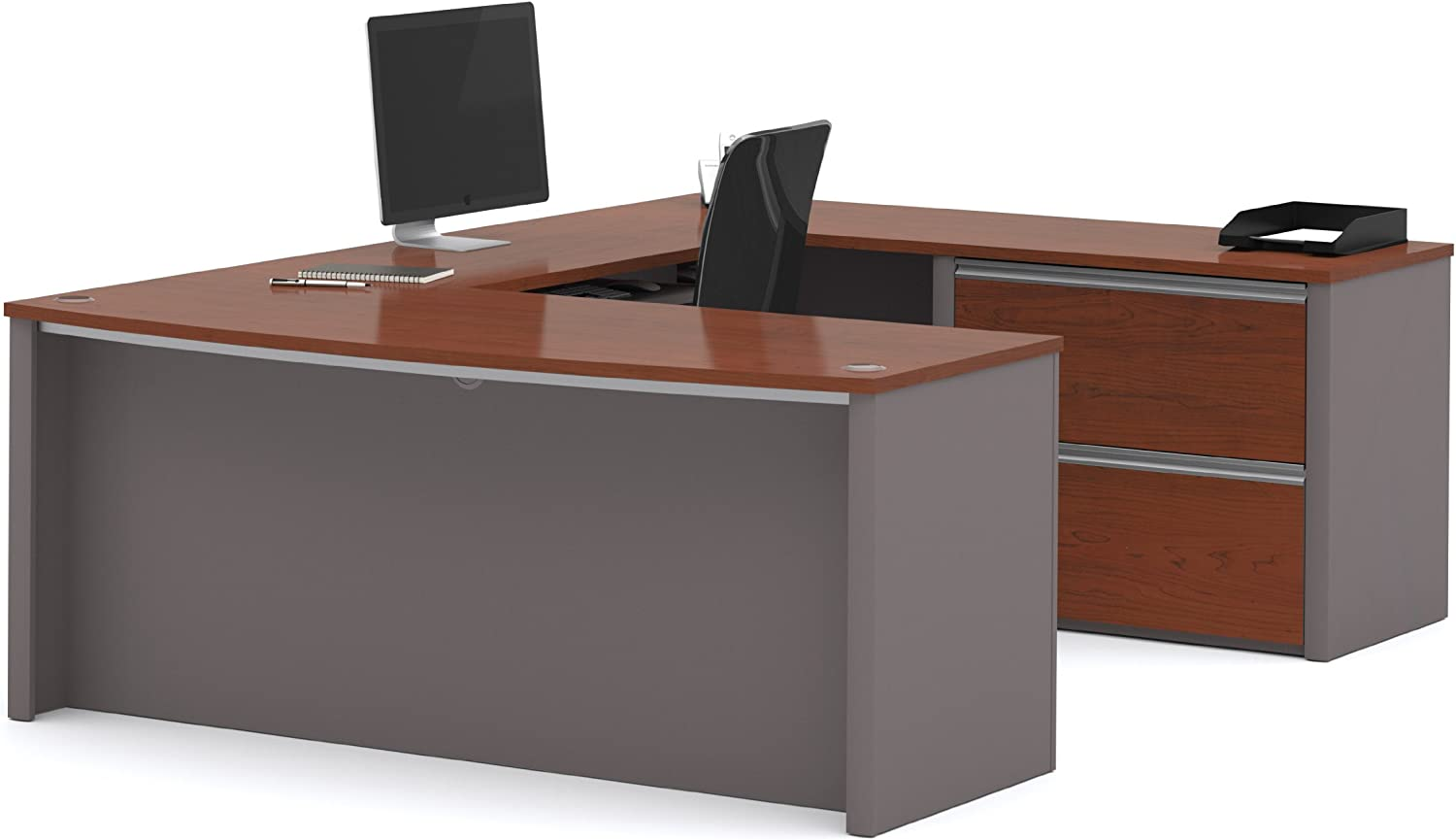 Bestar Connexion U-Shaped Workstation with Two Drawers, Bordeaux/Slate