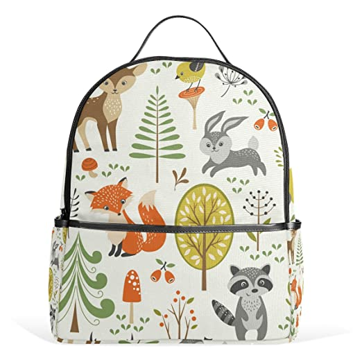8e053b2aa2cd Amazon.com | School Backpack for Boys Girls Tree Bird Owl Deer Fox ...