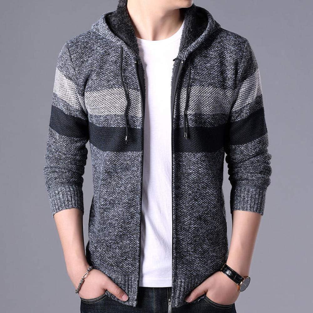 2020 Autunno Uomo Pile Cardigan Maglione Maglione Mens Inverno Moda A Righe Maglia Outwear Cappotto Maglione Maschio Con Cappuccio Sweatercoat 3Xl light grey